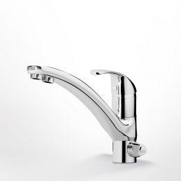 Βάση μπαταρίας (mm.): Φ50 Χαρακτηριστικά:Με περιστρεφόμενο ρουξούνι. Με 2 εξόδους και 3 παροχές, για σύνδεση με απλό φίλτρο νερού ή ντεπόζιτο. Στόμιο 1: έξοδος νερού ύδρευσης (ζεστό - κρύο). Στόμιο 2: έξοδος νερού φίλτρου / ντεπόζιτου. Εκτροπέας: εναλλαγή μεταξύ των δύο στομίων.  Κατεβάστε το τεχνικό σχέδιο