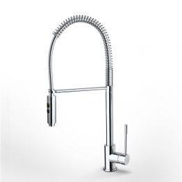 Βάση μπαταρίας (mm.): Φ54 mm Σειρά: Tech Χαρακτηριστικά:Ελατηρίου υψηλή, με άθραυστο σπιράλ και ντους 2 λειτουργιών (shower / spray). Κατάλληλη για νησίδες. Ύψος 64,5 εκ., προβολή 24 εκ  κατεβάστε το τεχνικό σχέδιο