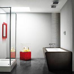 Διαστάσεις:1.73 x 0.89 m Μπανιέρα μοναδικού στυλ, που εισάγει μία νέα λογική στο χώρου του μπάνιου. Η acrilan καλωσορίζει μία νέα ιδέα σχεδιασμού & απαιτητικού στυλ με την νέα ξύλινη επένδυση wenge. Στη φωτογραφία συνοδεύεται από δυο τετράγωνα ντουζ οροφής sf-032 & επιδαπεδια μπαταρία l-300 του οικου alpi. Σύνθεση: Ντουζιέρα 1,20χ0,80 με γυάλινη καμπίνα wd/6 1,20χ2,00 ευθείας τοποθέτησης & στήλη zen 1,87χ0,53 σε χρώμα wenge με οχτώ στρόγγυλα jet , βρύση καταρράκτη & θερμοστατικό χειριστήριο.