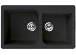 Γρανιτένιος Νεροχύτης με 2 γούρνες Διαστάσεις : 86 × 50 cm Βάθος: 21 cm Περίμετρος οπής: 84 × 48 cm Ερμάριο : 90 cm Περιλαμβάνει κομπλέ σιφώνια και βαλβίδες, 35 χρόνια εγγύηση