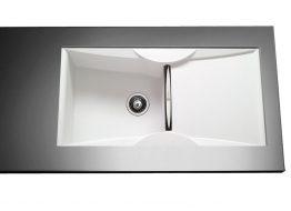 Γρανιτένιος Νεροχύτης με 1 γούρνα και επιφάνεια αποστράγγισης Διαστάσεις: 100x51,5 cm Βάθος: 21 cm Ερμάριο: 120 cm Αντιστρεφόμενος. Dispenser (διανομέα υγρού πιάτων) & ροζέτα 2 οπών δέχεται μόνο εφόσον τοποθετηθεί με την ποδιά δεξιά. Συμπεριλαμβάνονται βαλβίδες, σωληνώσεις & λιποσυλλέκτης.