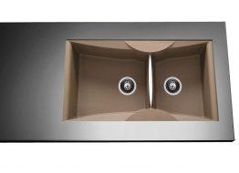 Γρανιτένιος Νεροχύτης με 2 γούρνες Διαστάσεις: 94x51,5 cm Βάθος: 21 cm Ερμάριο: 100 cm Αντιστρεφόμενος. Συμπεριλαμβάνονται βαλβίδες, σωληνώσεις & λιποσυλλέκτης