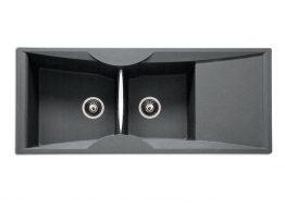 Γρανιτένιος Νεροχύτης με 2 γούρνες και πάγκο Διαστάσεις: 120x51,5 cm Βάθος: 21 cm Ερμάριο: 90 cm Αντιστρεφόμενος. Dispenser (διανομέα υγρού πιάτων) & ροζέτα 2 οπών δέχεται μόνο εφόσον τοποθετηθεί με την ποδιά δεξιά. Συμπεριλαμβάνονται βαλβίδες, σωληνώσεις & λιποσυλλέκτης.