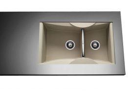 Γρανιτένιος Νεροχύτης με 2 γούρνες Διαστάσεις: 86x50 cm Βάθος: 21 cm Ερμάριο: 90 cm Αντιστρεφόμενος. Συμπεριλαμβάνονται βαλβίδες, σωληνώσεις & λιποσυλλέκτης